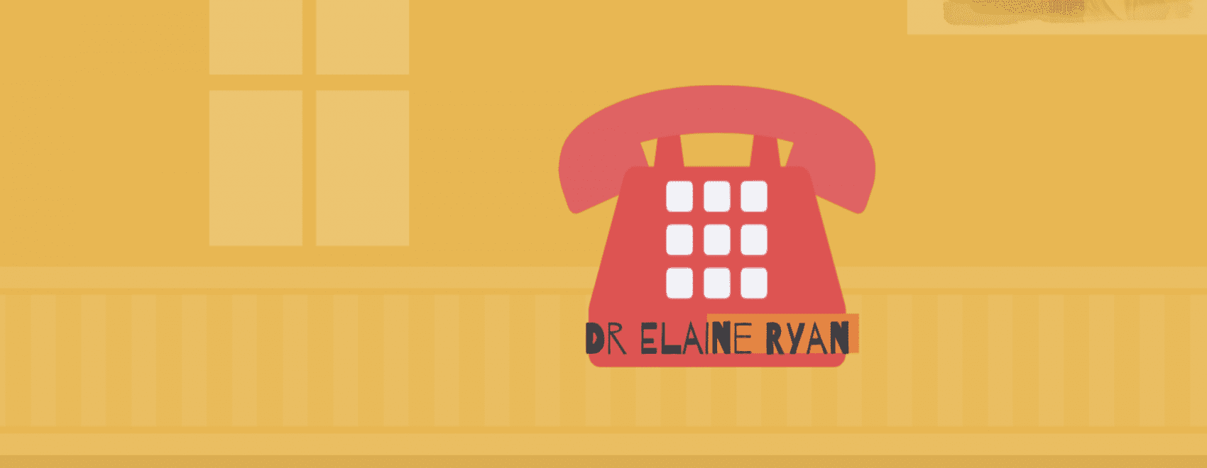 cartoon image of telephone and Dr Elaine Ryan